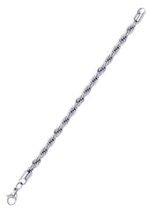 14K White Gold Mens Solid Rope Bracelet