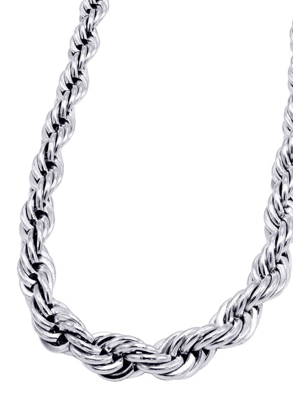 14K White Gold Mens Solid Rope Chain