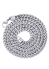 14K White Gold Mens Solid Franco Chain