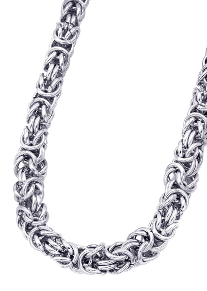 14K White Gold Mens Byzantine Chain