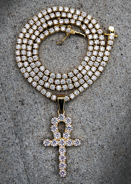Diamond Ankh & Tennis Chain ( 3 MM )