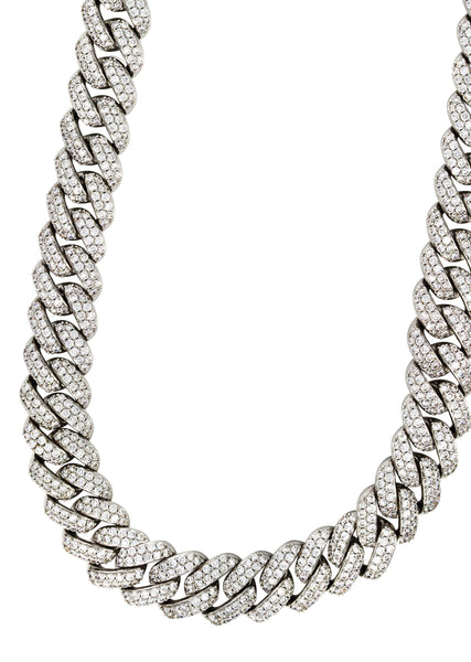 14k White Gold Mens Diamond Miami Cuban Link Chain