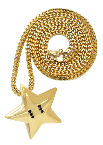 Yellow Gold Franco Link Chain & Star Pendant | Appx. 20 Grams
