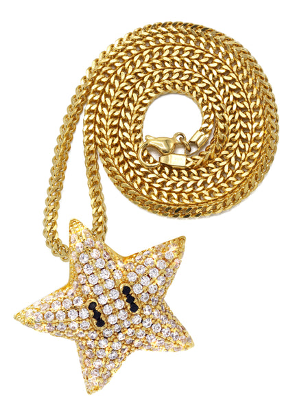 Yellow Gold Franco Link Chain & Iced Out Star Pendant | Appx. 7 Grams