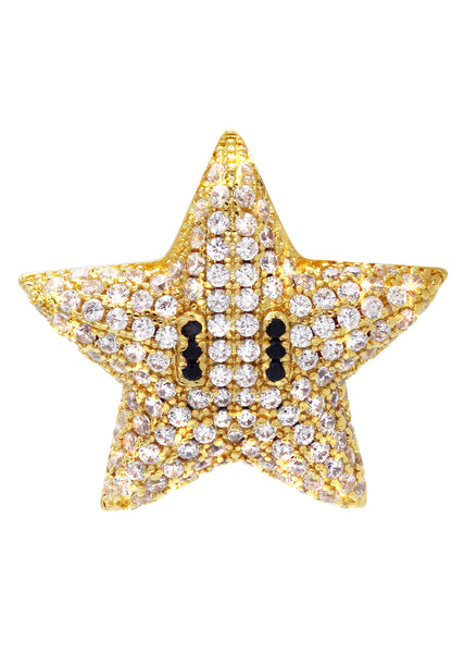 Gold Iced Out Star Pendant | 7 Grams