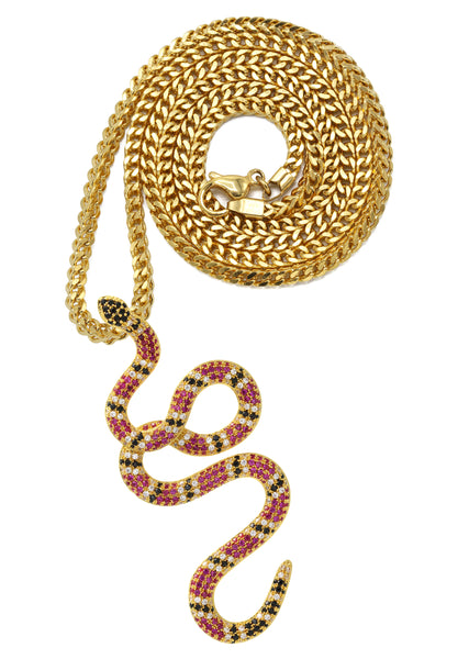 Yellow Gold Franco Link Chain & Twisted Snake Pendant | Appx. 10 Grams