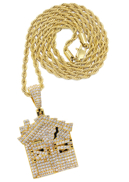 Yellow Gold Rope Chain & House Pendant | Appx. 18.7 Grams