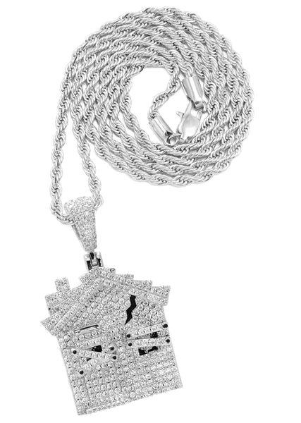 White Gold Rope Chain & House Pendant | Appx. 20 Grams
