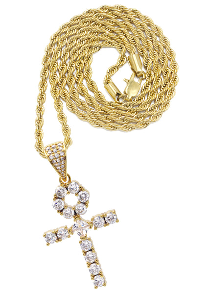 Yellow Gold Rope Chain & Ankh Pendant | Appx. 10 Grams