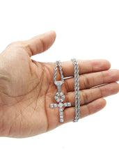 White Gold Rope Chain & Ankh Pendant | Appx. 10 Grams