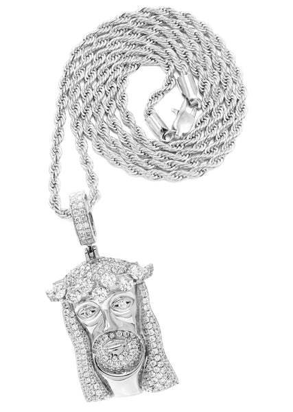 White Gold Rope Chain & Jesus Head Pendant | Appx. 26.7 Grams