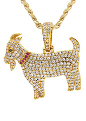 Yellow Gold Cuban Link Chain & Goat Pendant | Appx. 14.5 Grams