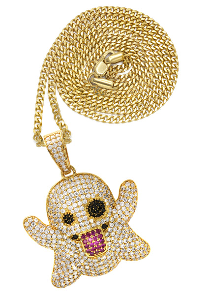 Yellow Gold Cuban Link Chain & Ghost Emoji Pendant | Appx. 18.2 Grams