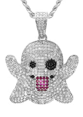 White Gold Cuban Link Chain & Ghost Emoji Pendant | Appx. 18.4 Grams
