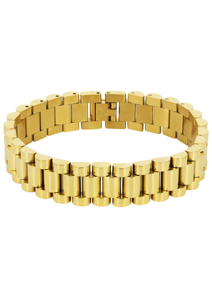14K Gold Mens Presidential Band Bracelet
