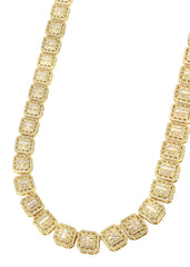 14K Gold Diamond Square Cluster Chain