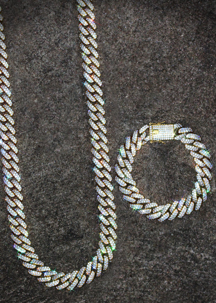 Yellow Gold Diamond Miami Cuban Link Chain & Bracelet