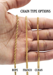 Mens Gold Cuban Link Chain & Skull Pendant | Appx. 21 Grams