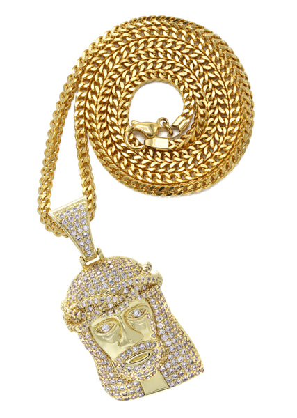 Yellow Gold Franco Link Chain & Jesus Head Pendant | Appx. 14.8 Grams