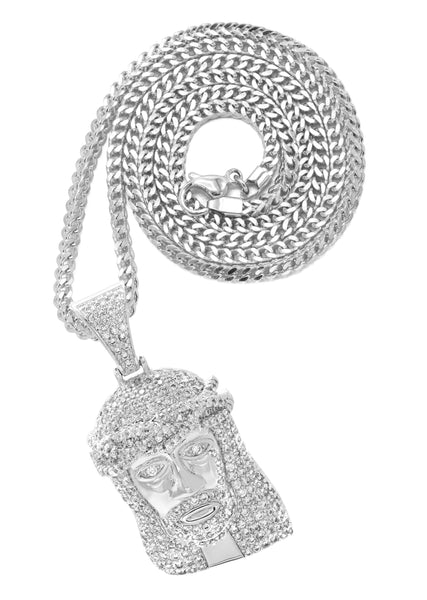 White Gold Franco Link Chain & Jesus Head Pendant | Appx. 14.8 Grams