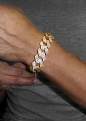 Diamond 14K Gold Mens Prong Set Cuban Link Bracelet