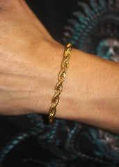 14K Gold Mens Solid Rope Bracelet