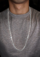 14K White Gold Mens Tennis Chain