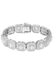 14K White Gold Diamond Square Cluster Bracelet