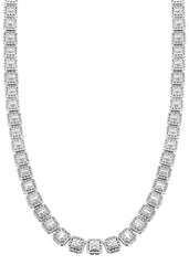 14K White Gold Diamond Square Cluster Chain