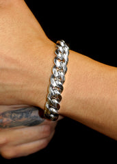 14K White Gold Mens Solid Miami Cuban Link Bracelet