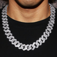 Diamond 14K White Gold Mens Prong Set Cuban Link Chain