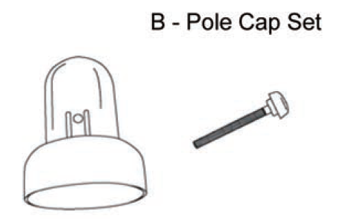 AirZone Basic 12'/15' Trampoline Enclosure Pole Caps w/ Locking Nut (Set of 6, Part B, Model 00512/615)
