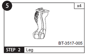 Set of 4 legs for BT-3517 Billiard Part # 005