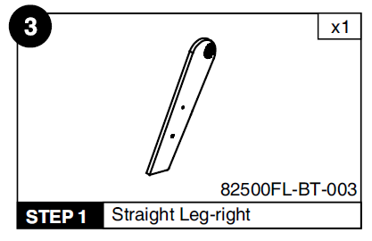 Straight Leg-Right for BT-2500FL Folding Billiard