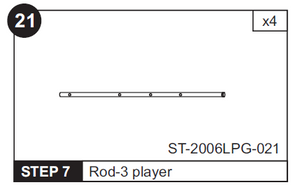 "3 Player Rod for ST-2006LPG 48"" Foosball Table (ST-2006LPG-021)"