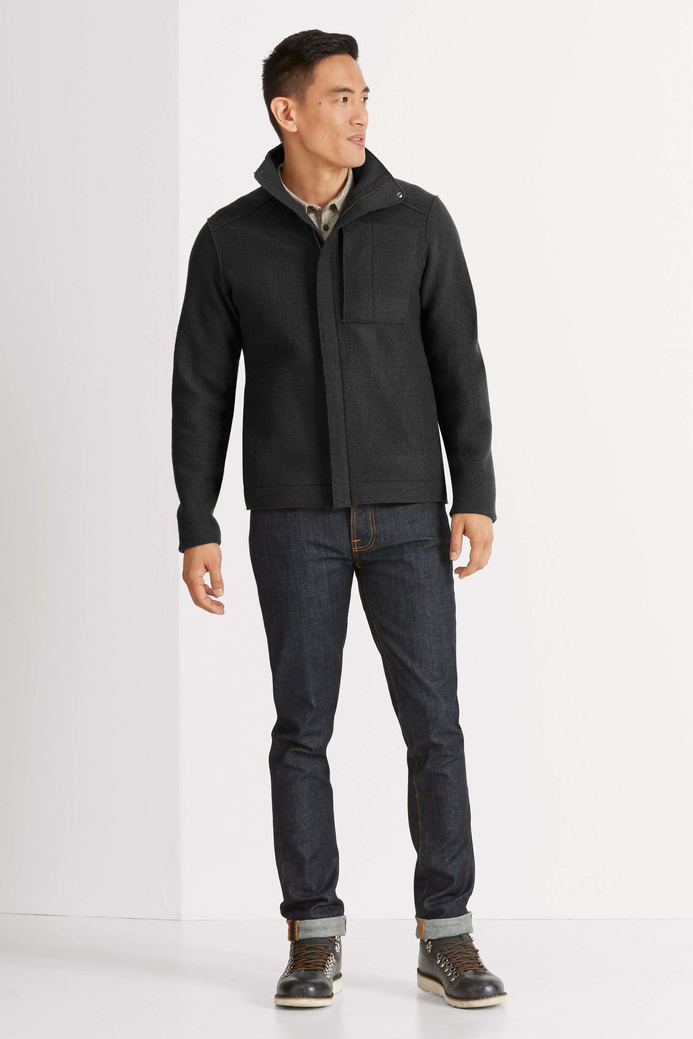 men's boiled wool jacket - caviar