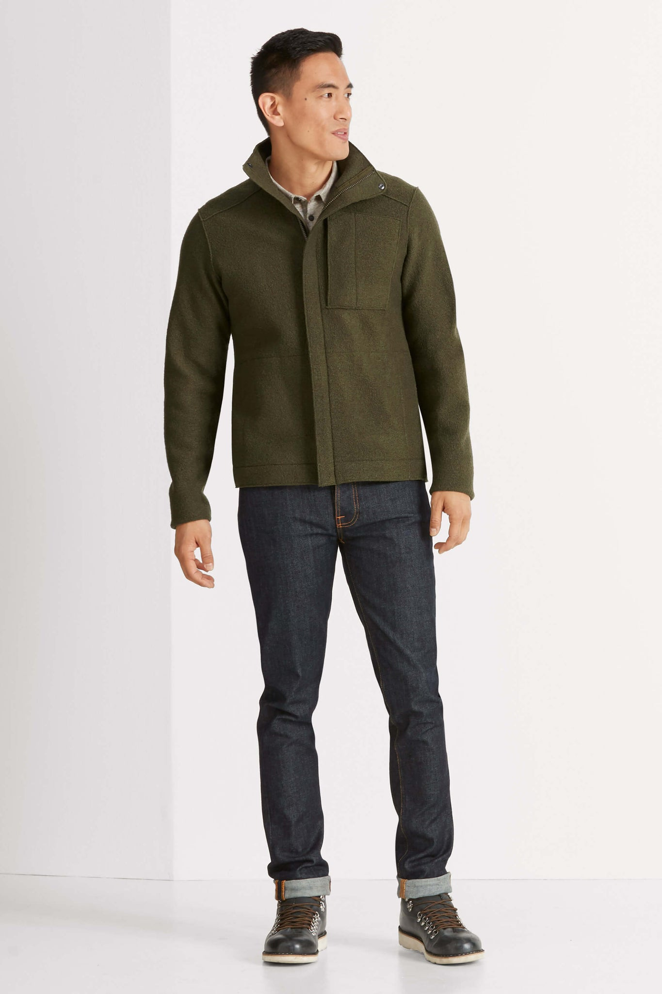 men's boiled wool jacket - peat