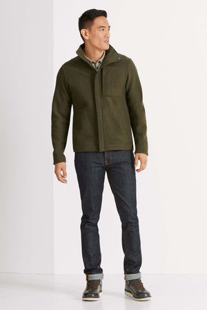 men's boiled wool jacket   peat