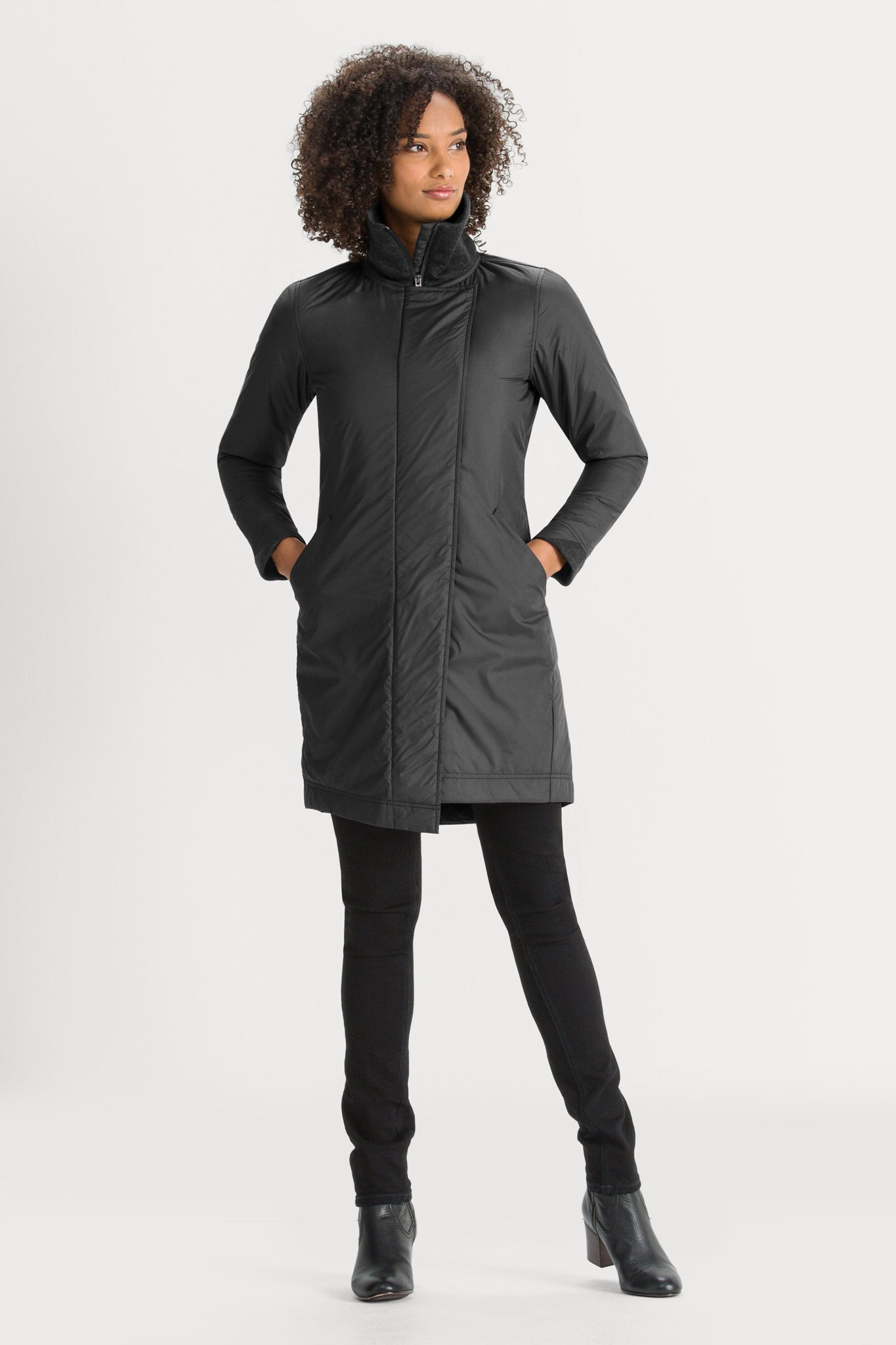 Women's Asym Lite Lightweight Insulated Trench Coat - Black