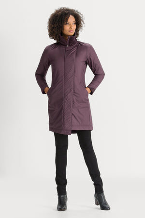 Women's Asym Lite Lightweight Insulated Trench Coat   Plum