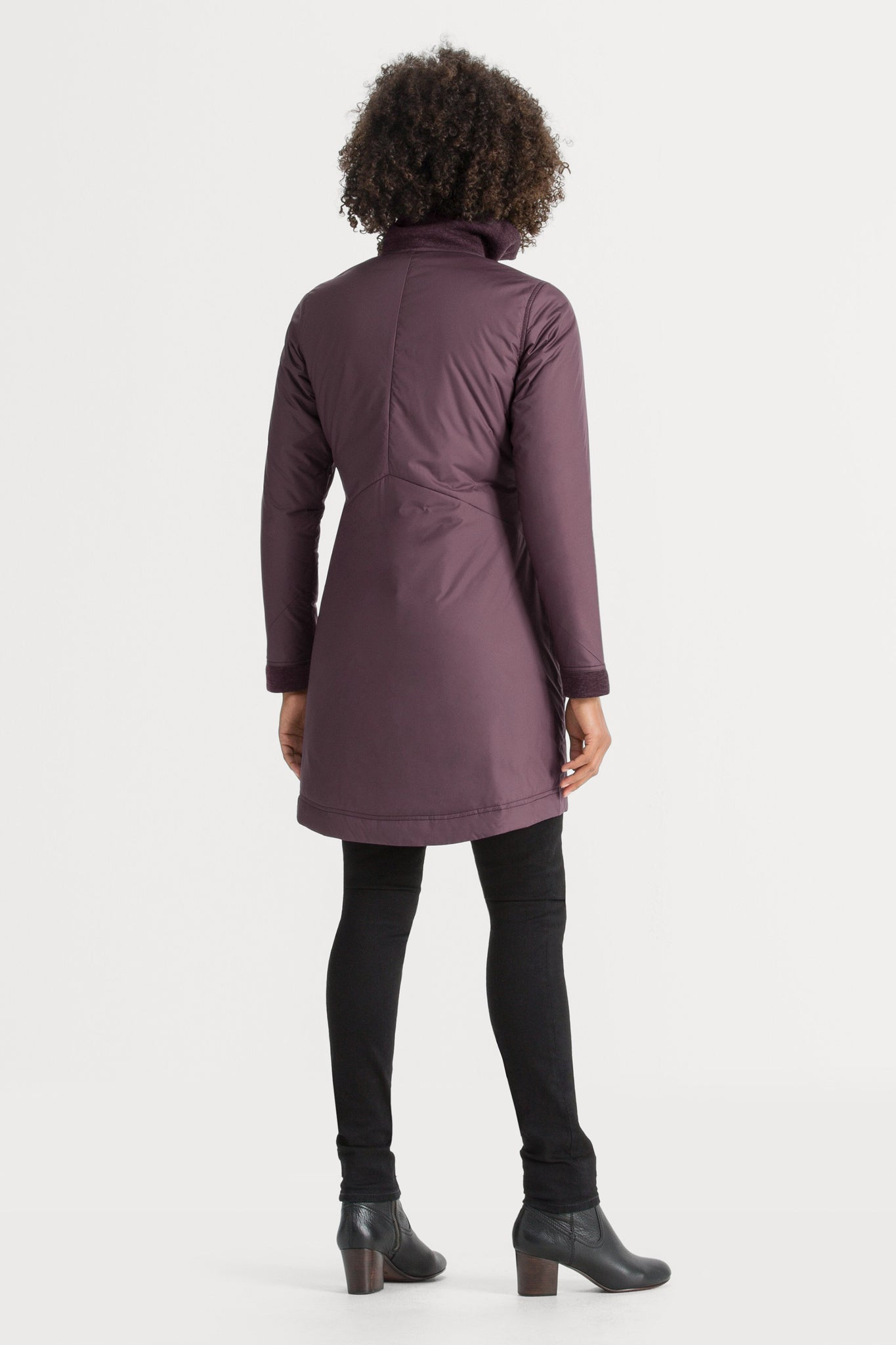 Women's Asym Lite Lightweight Insulated Trench Coat - Plum