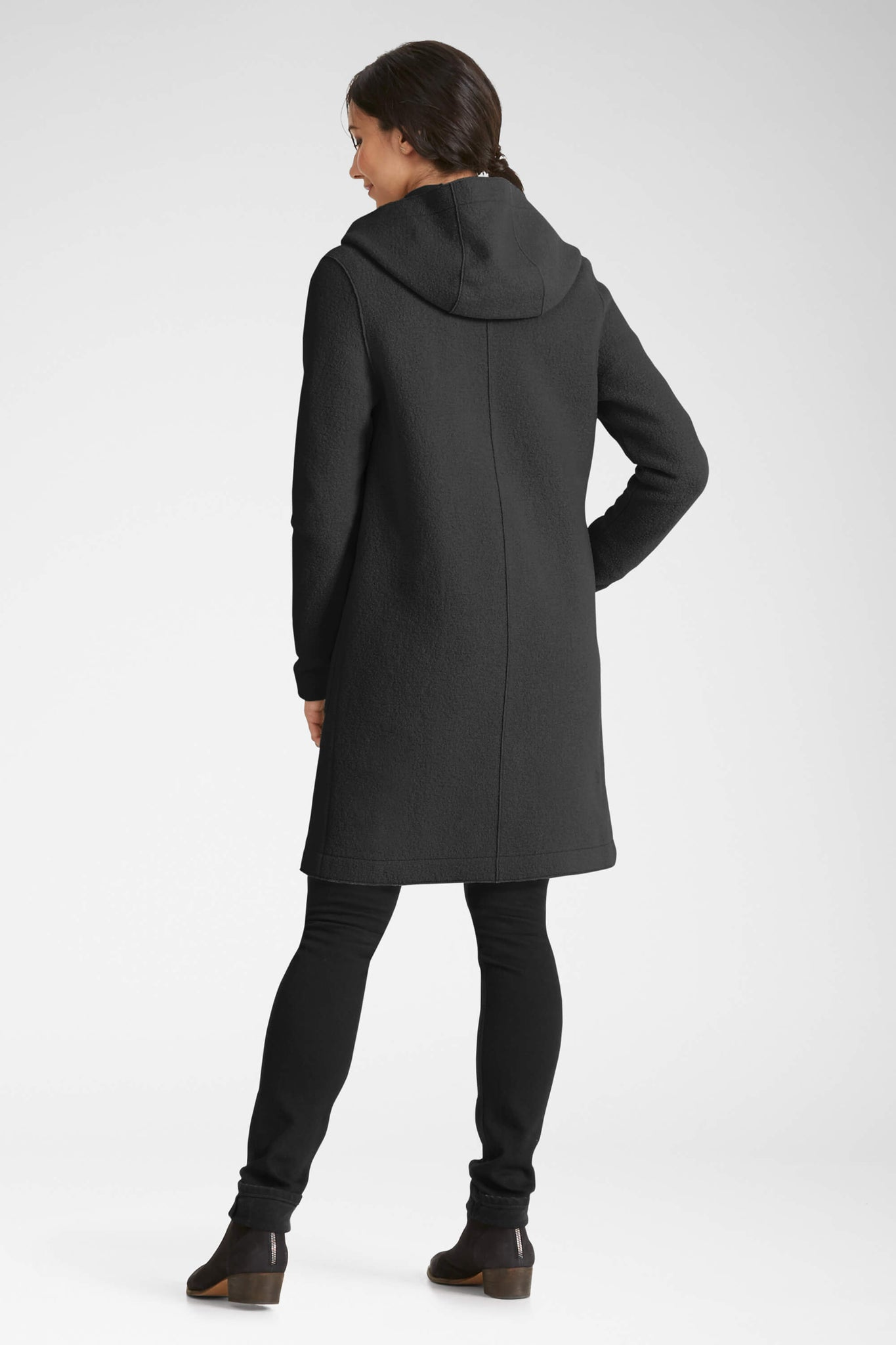 women's hooded boiled wool trench - caviar