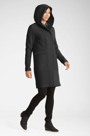 women's hooded boiled wool trench   caviar