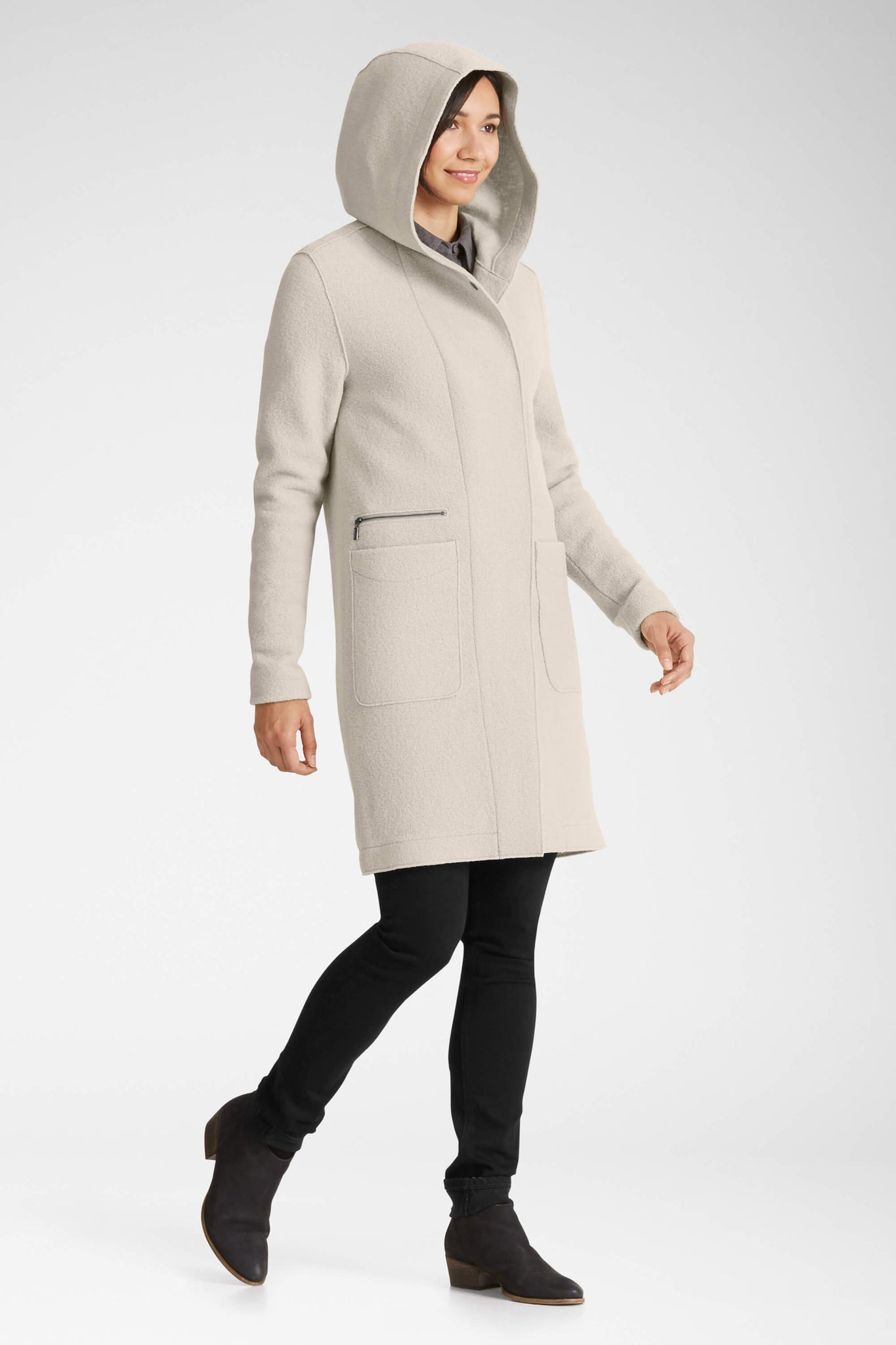 women's hooded boiled wool trench - glaze