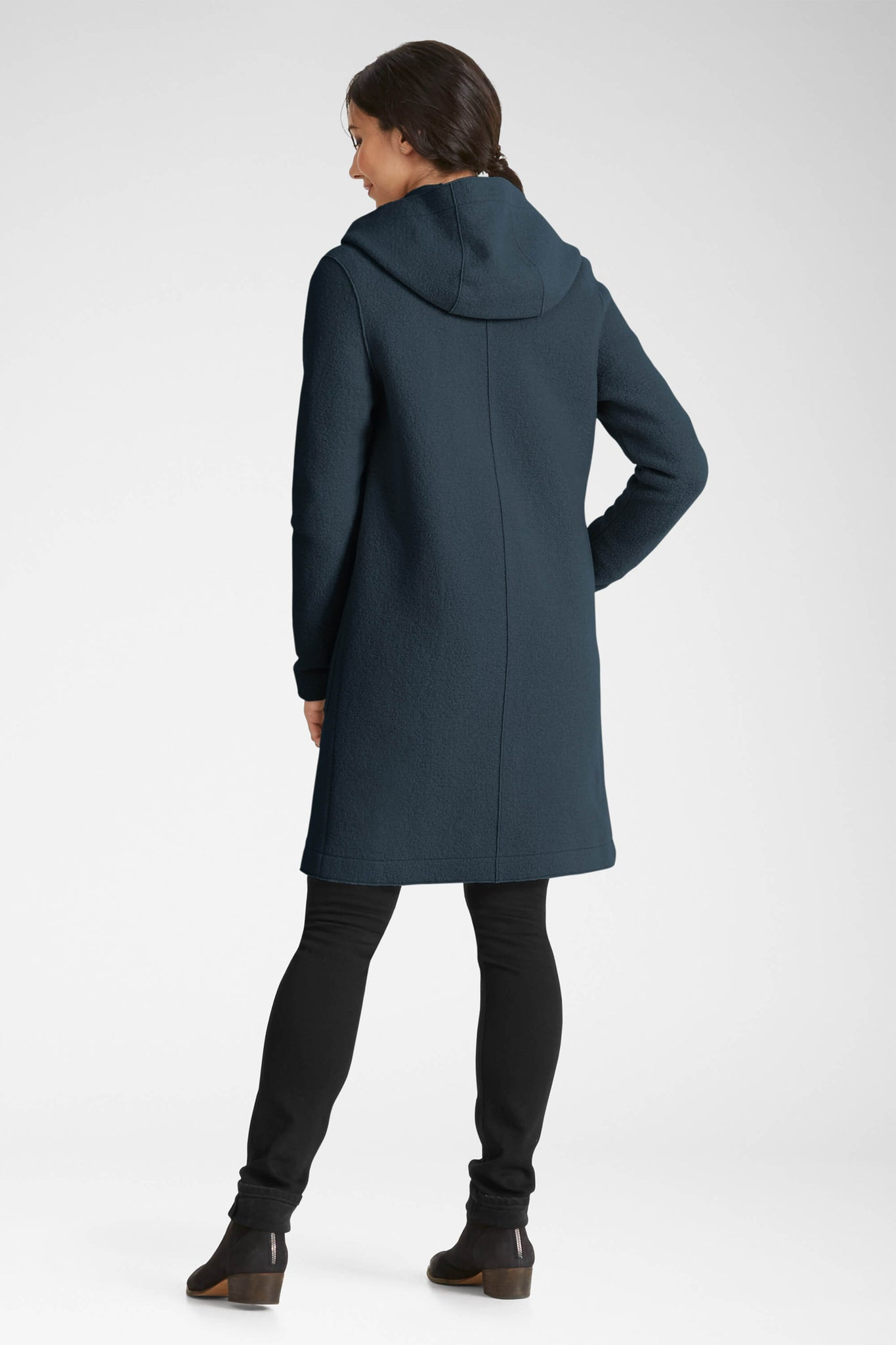 women's hooded boiled wool trench - navy