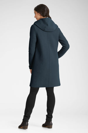 women's hooded boiled wool trench   navy