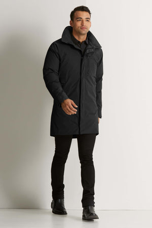 men's copenhagen hooded waterproof down trench coat   caviar
