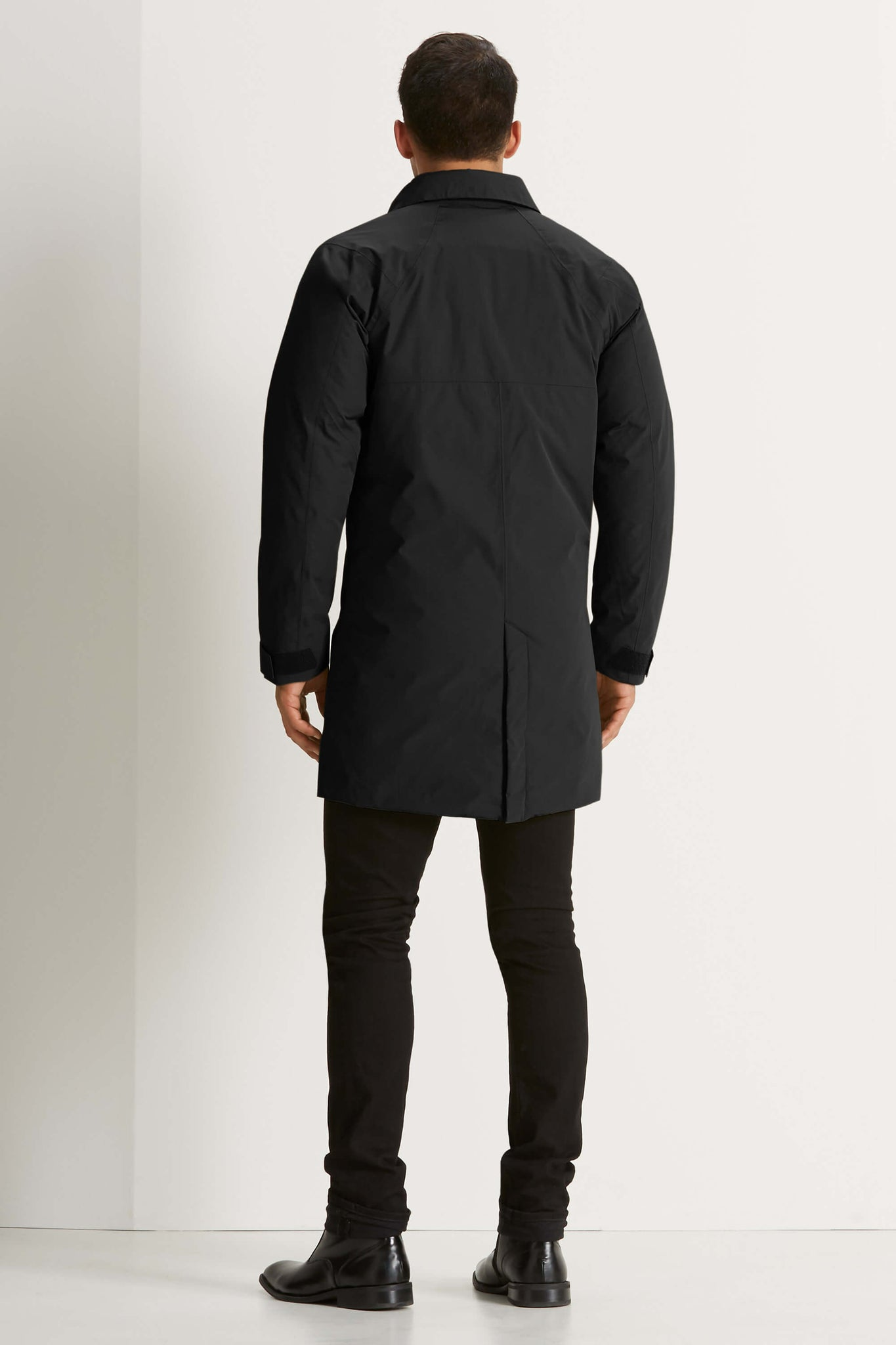 men's copenhagen hooded waterproof down trench coat - caviar