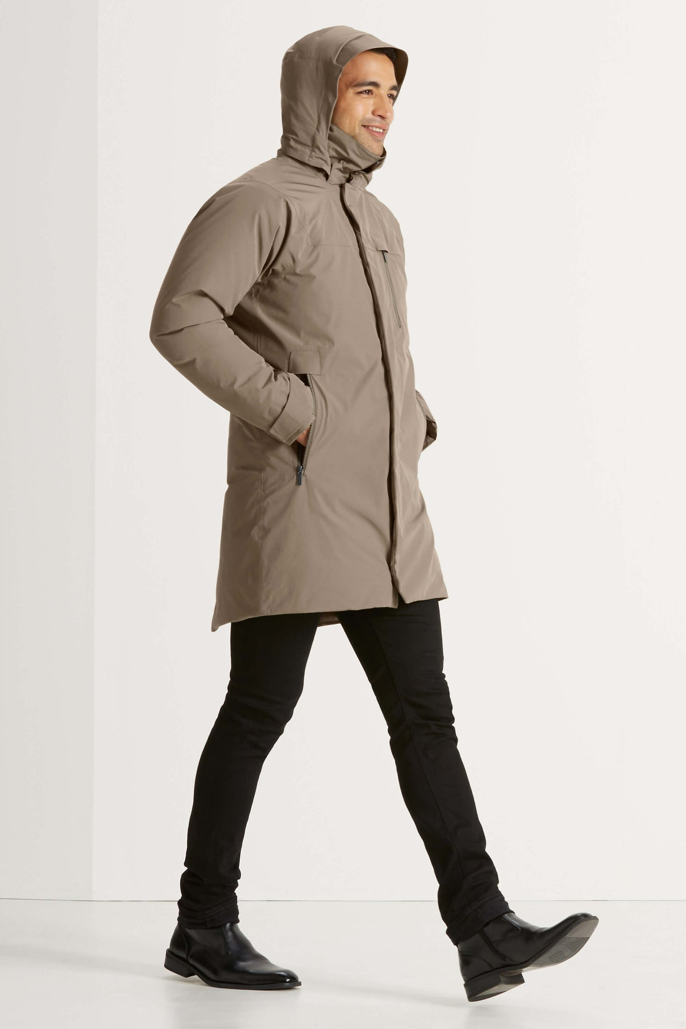 men's copenhagen hooded waterproof down trench coat - dark khaki