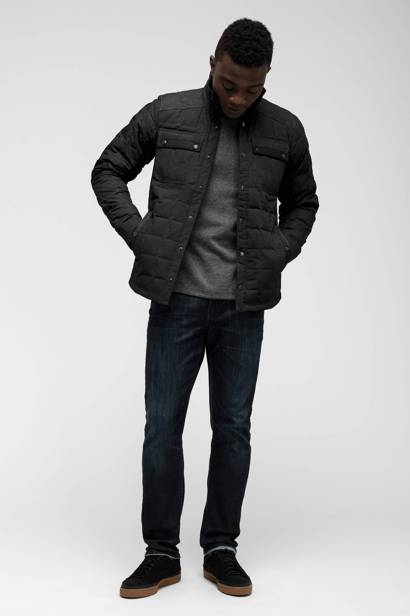 men's snap front utility down shirt jacket - caviar